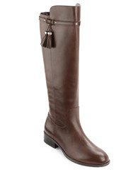 Lauren Ralph Lauren Marsalis Round Toe Leather Riding Boots Dark Brown