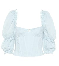 Brock Collection Exclusive To Mytheresa Oceanic Gingham Cotton Top Blue