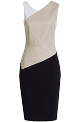 Roland Mouret Harley Crepe Dress With Perforated Leather