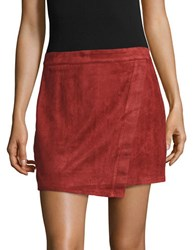 Design Lab Lord And Taylor Faux Suede Mock Wrap Skirt Rust