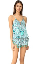 Tiare Hawaii Bahia Mar Romper Stained Positive Teal Navy