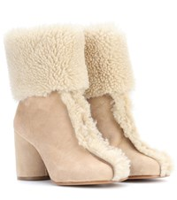 Maison Martin Margiela Suede And Shearling Ankle Boots Beige