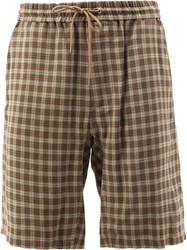 Undercover Check Shorts Cotton Cupro Rayon Brown