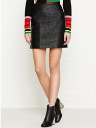 Karen Millen Quilted Faux Leather Skirt Black