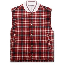 Thom Browne Checked Donegal Wool Down Gilet Brick