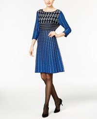 Ny Collection Printed Fit And Flare Sweater Dress Black Surf The Web Blue