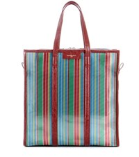 Balenciaga Bazar Medium Striped Mesh Tote Multicoloured