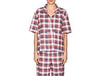 The Sleep Shirt Women's Plaid Cotton Flannel Pajama Top Red Navy