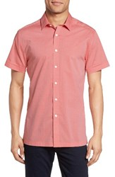 Vince Camuto Men's Short Sleeve Sport Shirt Coral Diamond Dobby