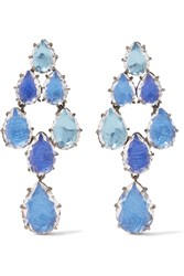 Larkspur And Hawk Caterina Swag Black Rhodium Dipped Quartz Earrings Blue Silver