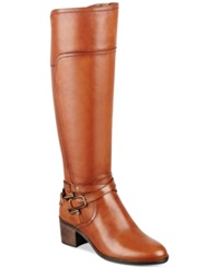 Marc Fisher Kacee Tall Wide Calf Riding Boots Women's Shoes Medium Brown Leather