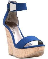 Carlos By Carlos Santana Benita Ankle Strap Platform Wedge Sandals Women's Shoes Sapphire Blue