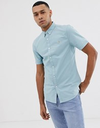 Farah Brewer Slim Fit Short Sleeve Oxford Shirt In Turquoise Blue