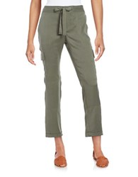 Lord And Taylor Bow Accented Linen Pants Fern