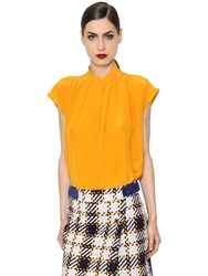 Trussardi Sleeveless Silk Crepe De Chine Shirt