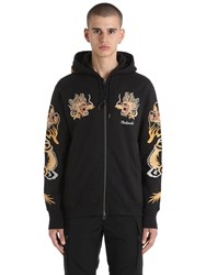 Mhi Dragon Embroidered Zip Jersey Sweatshirt Black