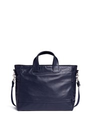Meilleur Ami Paris 'Petit Ami' Leather Messenger Tote Bag Blue