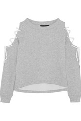 W118 By Walter Baker Kennedy Cold Shoulder Lace Up Cotton Blend Jersey Sweatshirt Light Gray