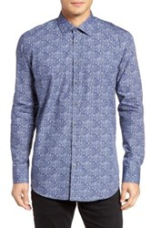 Sand Blueflower Regular Fit Sport Shirt