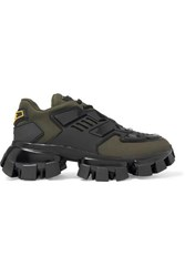 Prada Thunder Mesh And Rubber Sneakers Army Green