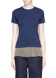 Toga Archives Mesh Hem T Shirt Blue