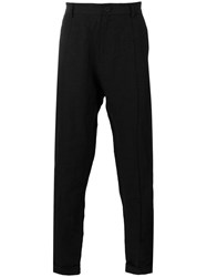 Isabel Benenato Slim Fit Tapered Trousers Men Linen Flax 46 Black