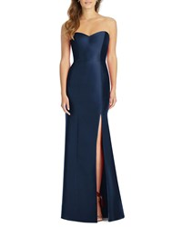 Alfred Sung Strapless Sweetheart Sateen Twill Column Gown Bridesmaid Dress Midnight