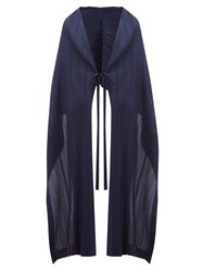 Issey Miyake Pleats Please Tech Pleated Scarf Cape Navy