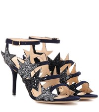 Charlotte Olympia Twinkle Toes Embellished Suede Sandals Blue