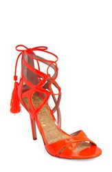 Women's Sam Edelman 'Azela' Tassel Lace Up Sandal Neon Orange Patent