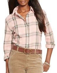 Lauren Ralph Lauren Plaid Twill Button Front Shirt Pink