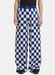Sunnei X Ln Cc Wide Leg Checked Knit Pants Blue