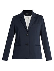 A.P.C. Jeanne Pinstriped Cotton Blend Blazer Navy