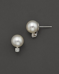 Bloomingdale's Cultured Akoya Pearl Stud Earrings With Diamonds In 14K White Gold 8Mm