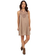Roper 0231 Poly Slub Jersey Dress Brown Women's Dress