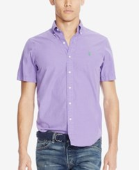 Polo Ralph Lauren Short Sleeve Silk Shirt Spring Purple