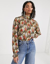 Topshop Blouse With Gathered Neck In Multi
