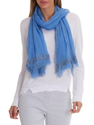 Betty Barclay Long Fringed Scarf Blue Bonnet