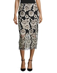 T Tahari Embroidered Floral Midi Skirt Navy Gold