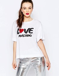 Love Moschino Sequin Heart T Shirt In White White