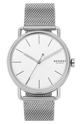 Skagen Men's Falster Automatic Mesh Strap Watch 40Mm Silver White Silver