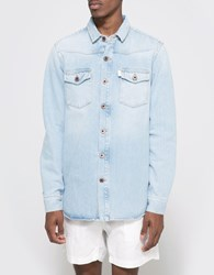 Off White Brushed Denim Shirt Bleach White