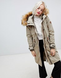 Only 3 Way Wear Parka With Faux Fur Hood Green