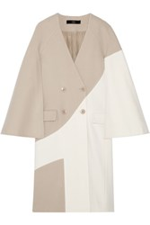 Tibi Siku Two Tone Wool Blend Coat Beige