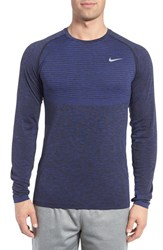 Nike Men's Slim Fit Long Sleeve Dri Fit Running T Shirt Deep Royal Blue Reflective