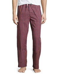 Psycho Bunny Woven Check Print Lounge Pants Red Navy