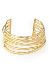 Elizabeth And James Gold Tone Crystal Cuff Gold