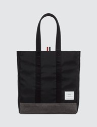 Thom Browne Unstructured Tote In Nylon Tech W Jersey Backing Suede