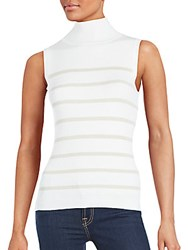 Saks Fifth Avenue Sleeveless Striped Top White Camel