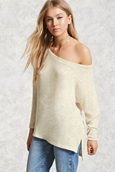 Forever 21 Marled Knit High Low Top Ivory Taupe